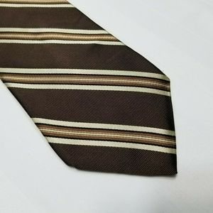 Brown & Tan Silk CROFT & BARROW Striped Tie